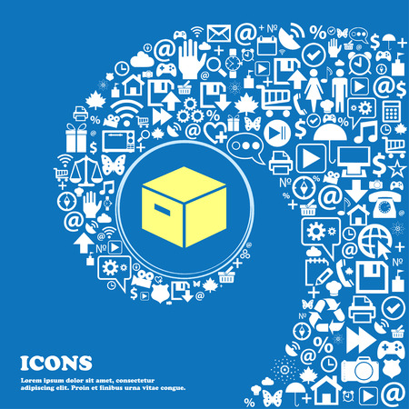 stockpile: packaging cardboard box icon . Nice set of beautiful icons twisted spiral into the center of one large icon. Vector illustration