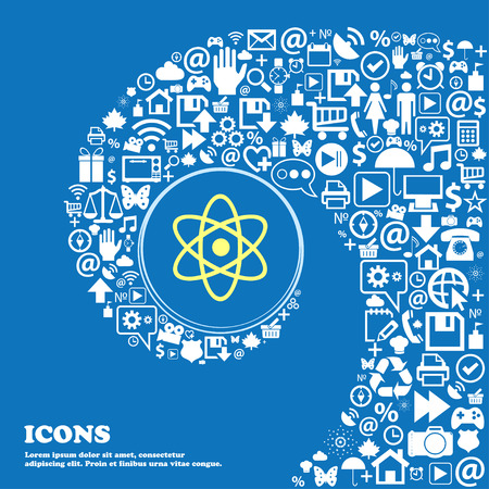 atomic nucleus: Atom, physics sign icon . Nice set of beautiful icons twisted spiral into the center of one large icon. Vector illustration
