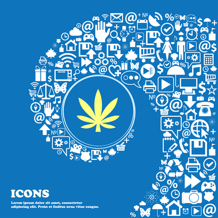 cannabinol: Cannabis leaf sign symbol. Nice set of beautiful icons twisted spiral into the center of one large icon. Vector illustration Illustration