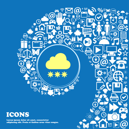 stormy clouds: snow cloud icon . Nice set of beautiful icons twisted spiral into the center of one large icon. Vector illustration