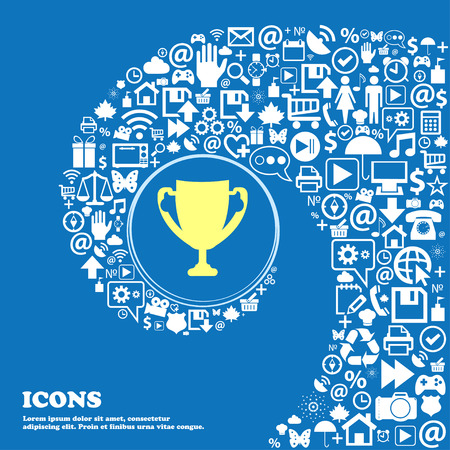 awarding: Winner cup sign icon. Awarding of winners symbol. Trophy . Nice set of beautiful icons twisted spiral into the center of one large icon. Vector illustration