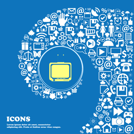 multimedia: TV sign icon . Nice set of beautiful icons twisted spiral into the center of one large icon. Vector illustration