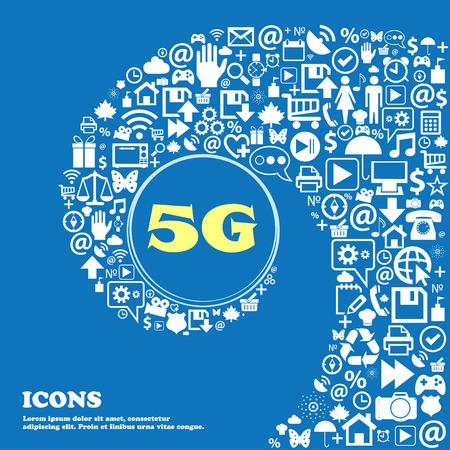 5G signe icône. télécommunications mobiles de symbole de la technologie. Bel ensemble de belles icônes tordu spirale dans le centre d'une grande icône. Vector illustration