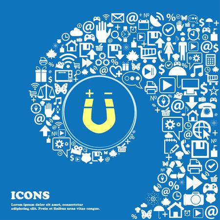 magnetismo: im�n de herradura, el magnetismo, magnetizar, icono de atracci�n se�al. Buen conjunto de iconos hermosos retorcido en espiral en el centro de una gran icono. ilustraci�n vectorial Vectores