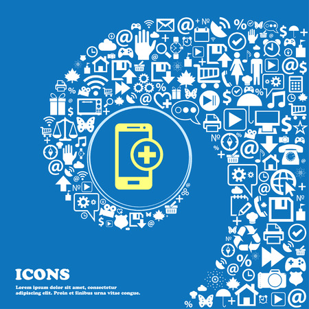 Mobile devices sign icon. with symbol plus . Nice set of beautiful icons twisted spiral into the center of one large icon. Vector illustration Ilustrace