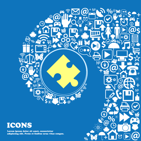 puzzle corners: Puzzle piece icon sign . Nice set of beautiful icons twisted spiral into the center of one large icon. Vector illustration Illustration