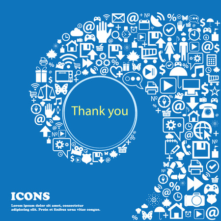 politeness: Thank you sign icon. Gratitude symbol . Nice set of beautiful icons twisted spiral into the center of one large icon. Vector illustration