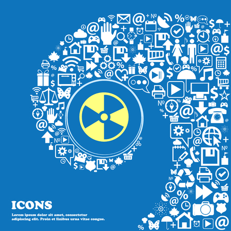 radioactive icon . Nice set of beautiful icons twisted spiral into the center of one large icon. Vector illustration