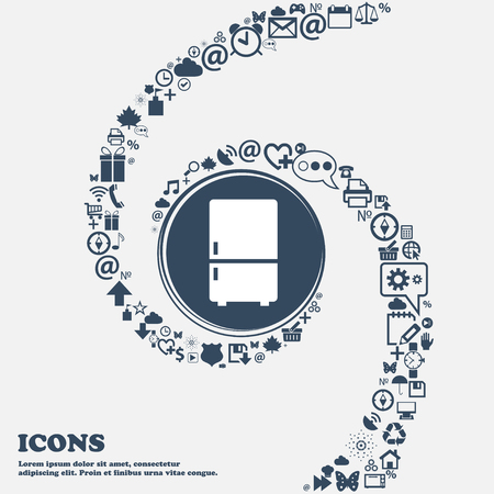 coolness: Refrigerator icon in the center. Around the many beautiful symbols twisted in a spiral. You can use each separately for your design. Vector illustration