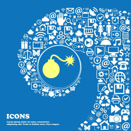 aggression: bomb icon . Nice set of beautiful icons twisted spiral into the center of one large icon. Vector illustration