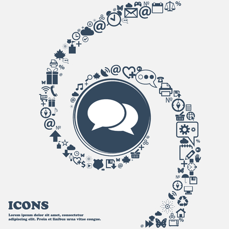 separately: Speech bubbles icon in the center. Around the many beautiful symbols twisted in a spiral. You can use each separately for your design. Vector illustration