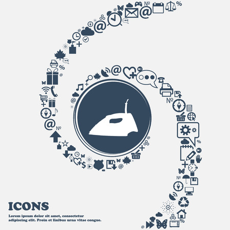 flatiron: Iron icon sign in the center. Around the many beautiful symbols twisted in a spiral. You can use each separately for your design. Vector illustration Illustration