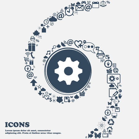 separately: Cog settings sign icon. Cogwheel gear mechanism symbol in the center. Around the many beautiful symbols twisted in a spiral. You can use each separately for your design. Vector illustration