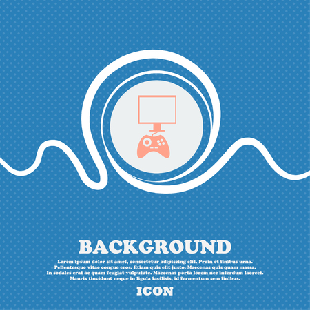 quality controller: Joystick and monitor sign icon. Video game symbol. Blue and white abstract background flecked with space for text and your design. Vector illustration