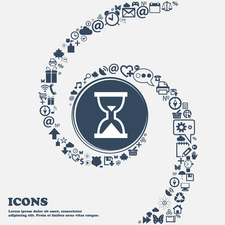 separately: Hourglass, Sand timer icon sign in the center. Around the many beautiful symbols twisted in a spiral. You can use each separately for your design. Vector illustration