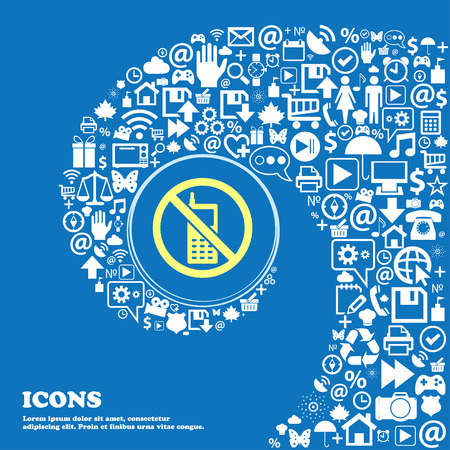 cell phones not allowed: mobile phone is prohibited sign symbol. Nice set of beautiful icons twisted spiral into the center of one large icon. Vector illustration
