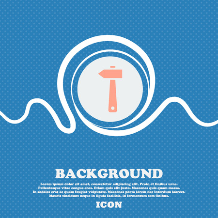 tooling: hammer icon sign. Blue and white abstract background flecked with space for text and your design. Vector illustration