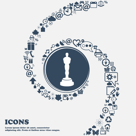 oscar: Oscar statuette sign icon in the center. Around the many beautiful symbols twisted in a spiral. You can use each separately for your design. Vector illustration