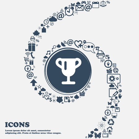 awarding: Winner cup, Awarding of winners, Trophy icon sign in the center. Around the many beautiful symbols twisted in a spiral. You can use each separately for your design. Vector illustration Illustration