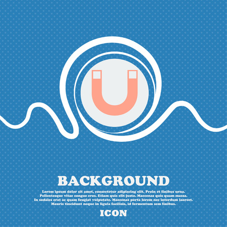 electromagnetism: magnet sign icon. horseshoe it symbol. Repair sig. Blue and white abstract background flecked with space for text and your design. Vector illustration