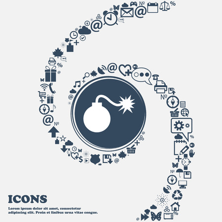 aggression: bomb icon in the center. Around the many beautiful symbols twisted in a spiral. You can use each separately for your design. Vector illustration