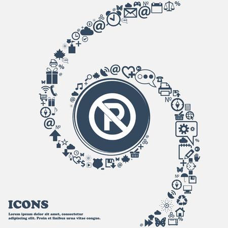 No parking icona segno nel centro. Intorno alle tante belle simboli intrecciati in una spirale. È possibile utilizzare ciascuna separatamente, per la progettazione. illustrazione di vettore