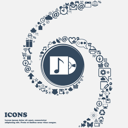 crystal button: cd player icon sign in the center. Around the many beautiful symbols twisted in a spiral. You can use each separately for your design. Vector illustration Illustration