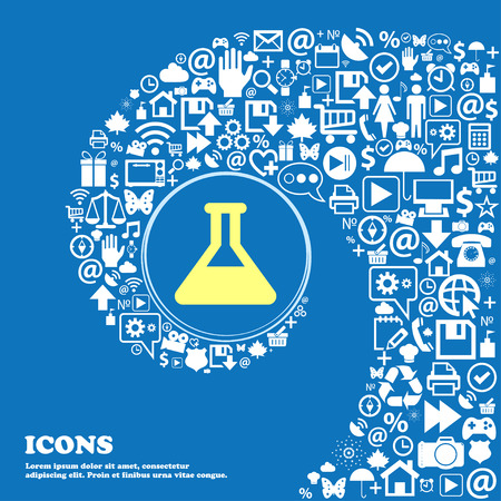 Conical Flask sign symbol. Nice set of beautiful icons twisted spiral into the center of one large icon. Vector illustration