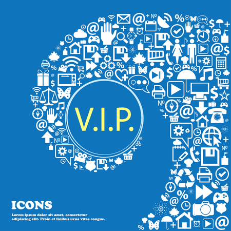 very important person sign: Vip sign icon. Membership symbol. Very important person . Nice set of beautiful icons twisted spiral into the center of one large icon. Vector illustration