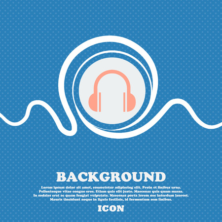 ear phones: headphones icon sign. Blue and white abstract background flecked with space for text and your design. Vector illustration