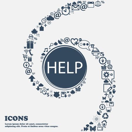 your point: Help point sign icon. Question symbol in the center. Around the many beautiful symbols twisted in a spiral. You can use each separately for your design. Vector illustration