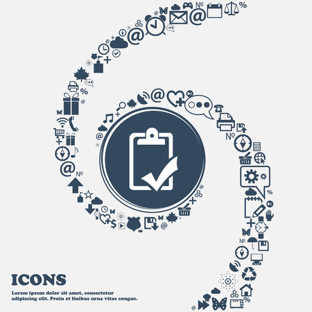 Document grammar control, Test, work complete sign icon in the center. Around the many beautiful symbols twisted in a spiral. You can use each separately for your design. Vector illustration
