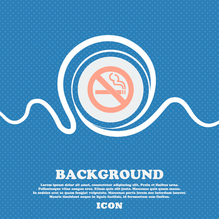 smoldering cigarette: no smoking sign icon. Blue and white abstract background flecked with space for text and your design. Vector illustration