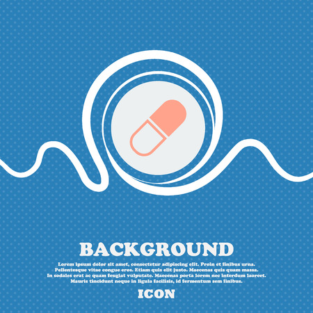 heartache: pill icon sign. Blue and white abstract background flecked with space for text and your design. Vector illustration Illustration