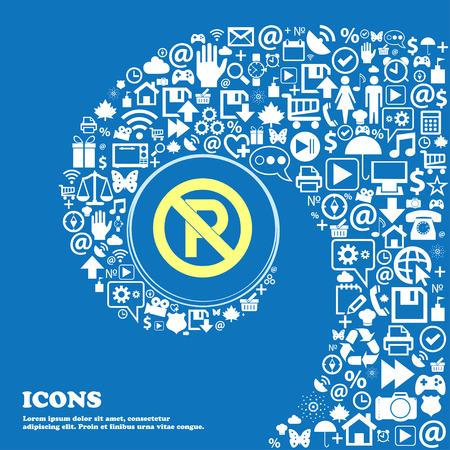 Nessun simbolo segno di parcheggio. Bel set di icone belle attorcigliato a spirale al centro di una grande icona. illustrazione di vettore