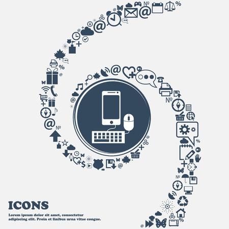 moniteur smartphone grand écran, clavier, souris signe icône dans le centre. Autour des beaux nombreux symboles tordus dans une spirale. Vous pouvez utiliser séparément pour votre conception. Vector illustration Vecteurs