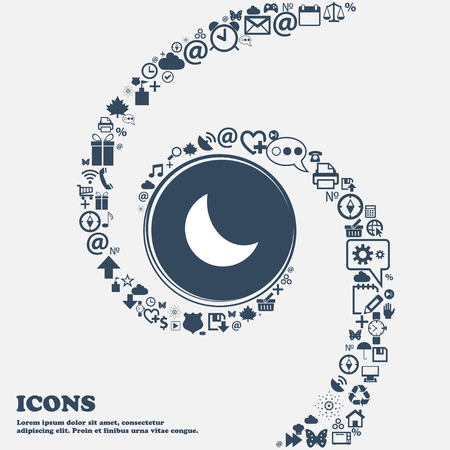afterglow: moon icon in the center. Around the many beautiful symbols twisted in a spiral. You can use each separately for your design. Vector illustration Illustration