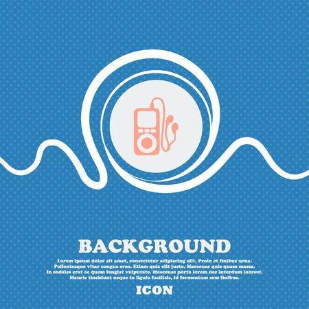 portable audio: MP3 player, headphones, music sign icon. Blue and white abstract background flecked with space for text and your design. Vector illustration