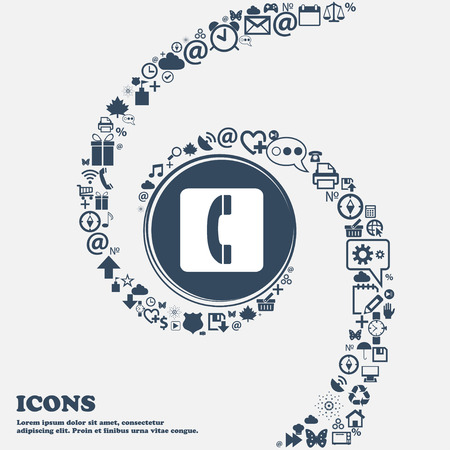 handset icon sign in the center. Around the many beautiful symbols twisted in a spiral. You can use each separately for your design. Vector illustration Vektoros illusztráció