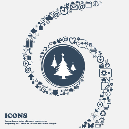 coniferous forest: coniferous forest, tree, fir-tree sign icon in the center. Around the many beautiful symbols twisted in a spiral. You can use each separately for your design. Vector illustration