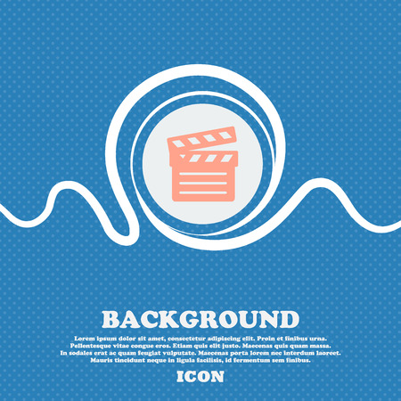 plate camera: Cinema Clapper sign icon. Blue and white abstract background flecked with space for text and your design. Vector illustration