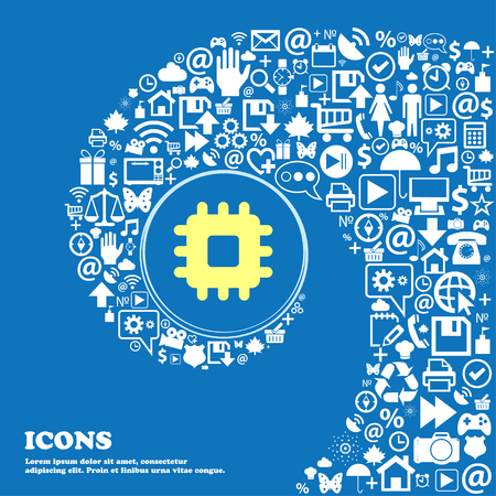 computer socket: Central Processing Unit sign symbol. Nice set of beautiful icons twisted spiral into the center of one large icon. Vector illustration