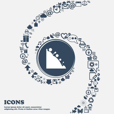rockfall: Rockfall icon in the center. Around the many beautiful symbols twisted in a spiral. You can use each separately for your design. Vector illustration Illustration