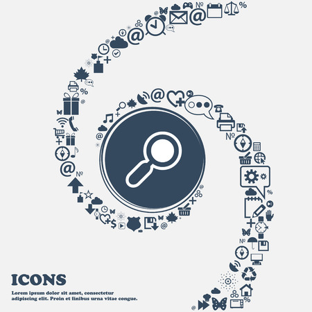 separately: magnifying glass, zoom icon sign in the center. Around the many beautiful symbols twisted in a spiral. You can use each separately for your design. Vector illustration