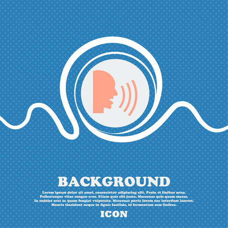 loudy: Talking Flat modern web icon. Blue and white abstract background flecked with space for text and your design. Vector illustration