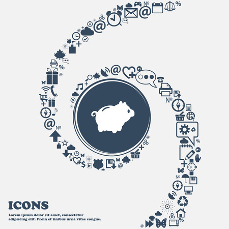 dolar: Piggy icono de señal de banco en el centro. Alrededor de los muchos símbolos hermosas trenzado en forma de espiral. Se puede utilizar cada uno por separado para su diseño. ilustración vectorial Vectores