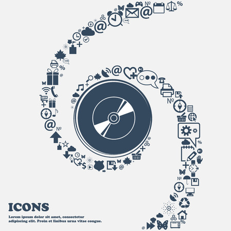 blueray: Cd, DVD, compact disk, blue ray icon sign in the center. Around the many beautiful symbols twisted in a spiral. You can use each separately for your design. Vector illustration Illustration