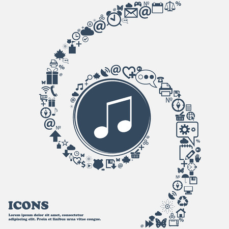 accord: musical note, music, ringtone icon sign in the center. Around the many beautiful symbols twisted in a spiral. You can use each separately for your design. Vector illustration