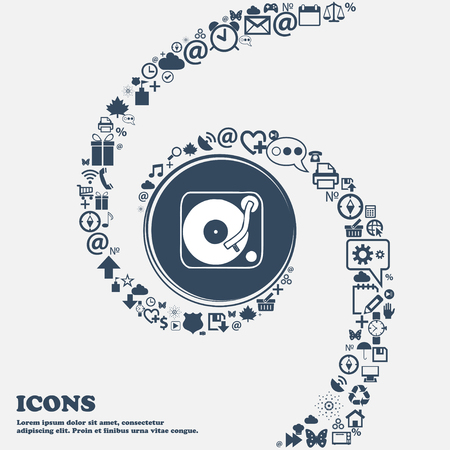 grooves: Gramophone, vinyl icon sign in the center. Around the many beautiful symbols twisted in a spiral. You can use each separately for your design. Vector illustration Illustration