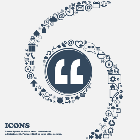 separately: Quote sign icon. Quotation mark symbol. Double quotes at the end of words in the center. Around the many beautiful symbols twisted in a spiral. You can use each separately for your design. Vector illustration Illustration